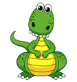 Cute green dinosaur cartoon vector image vector image