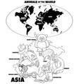educational cartoon asian animals color book vector image vector image