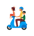 father and children traveling riding on bike flat vector image