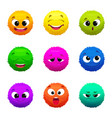 funny colored furry emoticons cartoon characters vector image