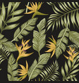 green palm leaves yellow tropical flowers vector image vector image