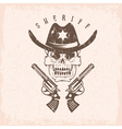 grunge label of sheriff skull in hat and guns vector image vector image