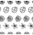 hand drawn garden flower doodle seamless pattern vector image vector image