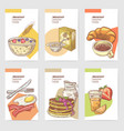 healthy breakfast hand drawn cards brochure vector image vector image