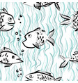 ink hand drawn seamless pattern with funny fishes vector image vector image