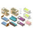 isometric set different types beds for vector image vector image