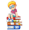 little boy reading book on the stack of book vector image