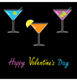 Martini set black background Happy Valentines Day vector image vector image