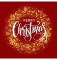 Merry Christmas greeting card lettering design red vector image vector image