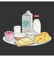 Milk products on plate vector image vector image