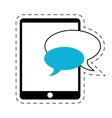 mobile device chat dialog cut line vector image vector image