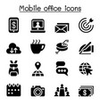 mobile office icon set vector image vector image