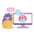 people communication and technology girls vector image vector image