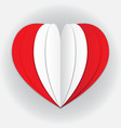 peru flag paper cut heart independence day love vector image