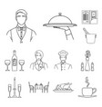 restaurant and bar outline icons in set collection vector image vector image