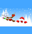 santa and deer in winter forest vector image vector image