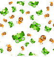 seamless pattern of frogs and a lion vector image vector image