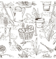 Seamless sketch with gardening tools vector image vector image