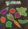 set of vegetable stickers- beet carrot broccoli vector image vector image