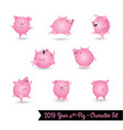 set pig characters for year pig vector image vector image