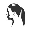 silhouette of a female head face profile view vector image vector image