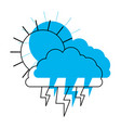 sun cloud and lightning in blue watercolor vector image vector image