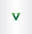 triangle green letter v logo icon vector image vector image