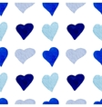Watercolor blue hearts seamless pattern vector image vector image