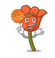 with basketball poppy flower character cartoon vector image