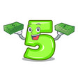 with money number five isolated on the mascot vector image