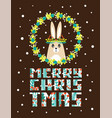 cute christmas card with a picture of a rabbit vector image