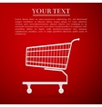 Shopping cart flat icon on red background vector image