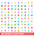 100 cosmetic salon icons set cartoon style vector image vector image