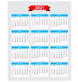 2021 calendar week start sunday vector image vector image