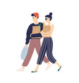 adorable modern young couple carrying bags with vector image vector image