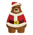 bear in santa claus costume christmas vector image vector image