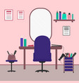beauty salon interior in flat style workplace