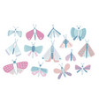 bundle of pastel colored cartoon moths of vector image vector image