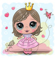 cartoon princess with bird on a blue background vector image vector image