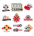 casino club gambling poker and bingo isolated vector image vector image