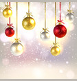 christmas greeting card with shiny christmas balls vector image vector image