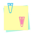 colored paper notes with plastic paper clips vector image