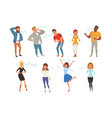 colorful icon set with loudly laughing people vector image