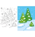 Coloring Book Of Three Trees In The Snow vector image