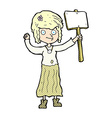 comic cartoon hippie girl with protest sign vector image vector image