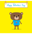 Cute bear Happy Valentines Day card vector image vector image