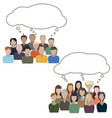 dialog between group of men and group of women vector image vector image