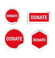 donate red label set isolated vector image