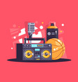 flat hip-hop equipment with spray microphone vector image