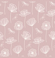 floral seamless pattern with poppy flowers white vector image vector image